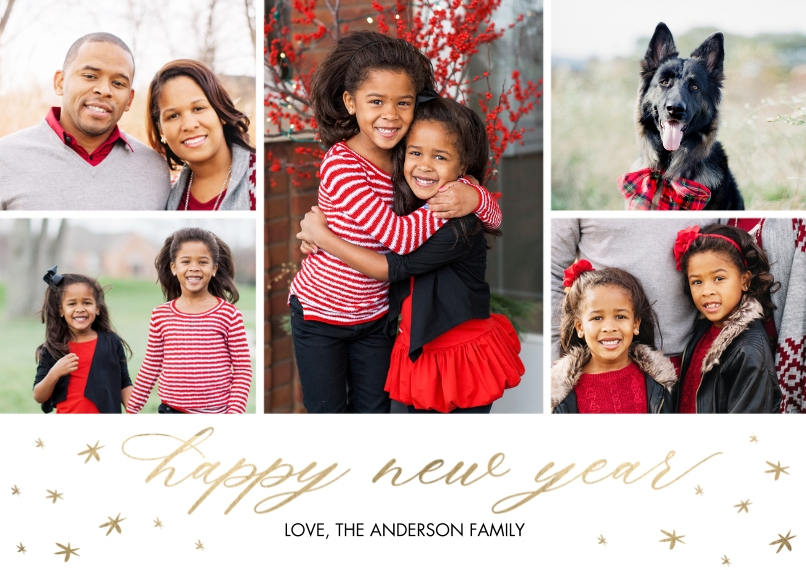 New Year's Photo Cards 5x7 Cards, Premium Cardstock 120lb with Elegant Corners, Card & Stationery -New Year Stars Script by Tumbalina