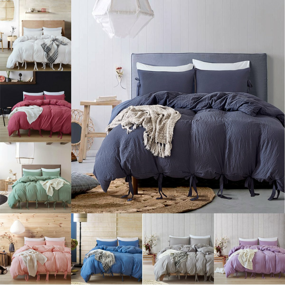 3pcs Bed Linen Solid Color Tape Bedding Set Butterfly Bowtie Duvet Cover Pillowcase Set Single Twin Queen King Size