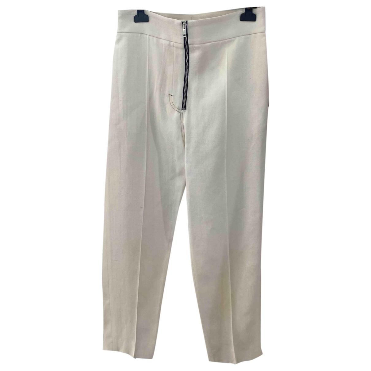 Celine \N White Silk Trousers for Women 38 FR