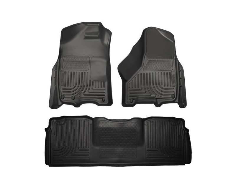 Husky Floor Liners Front & 2nd Row 10-15 Dodge Ram Mega Cab W/Dual Carpet Hooks (Footwell Coverage) WeatherBeater-Black