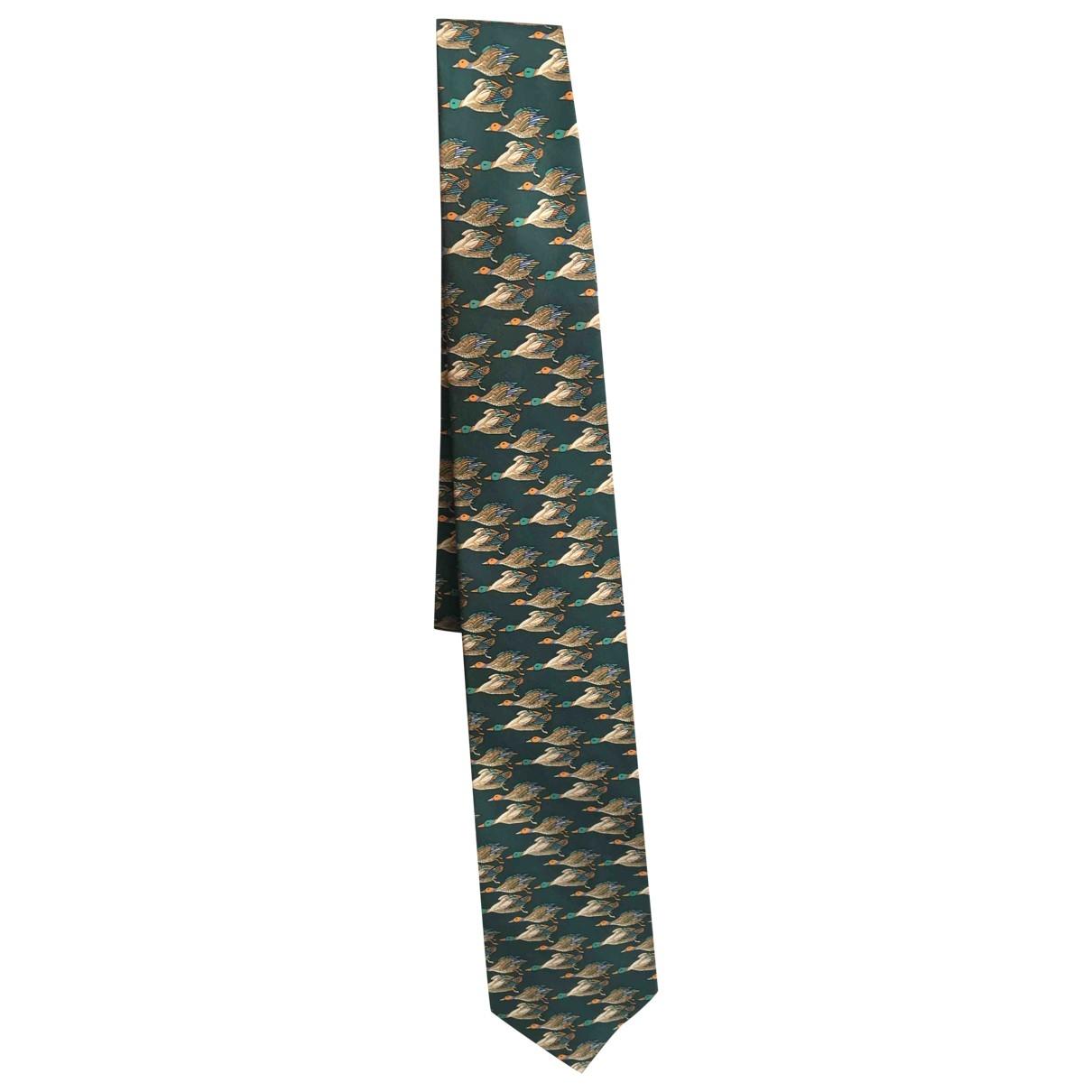 Salvatore Ferragamo - Cravates   pour homme en soie - vert