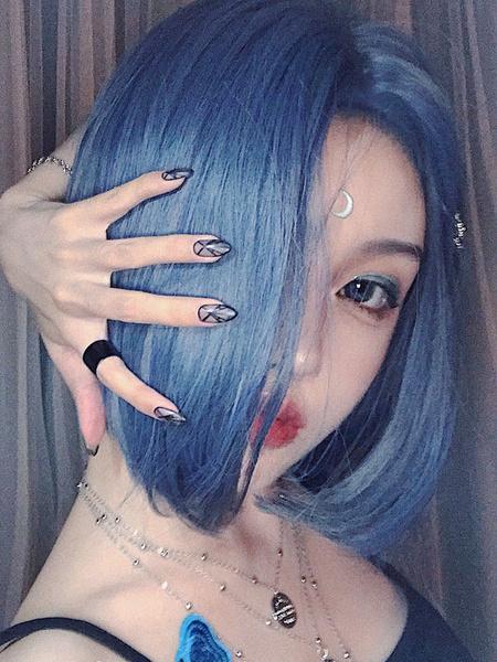 Milanoo Sweet Lolita Wigs Deep Blue Bob Short Heat Resistant Fiber Lolita Hair Wigs
