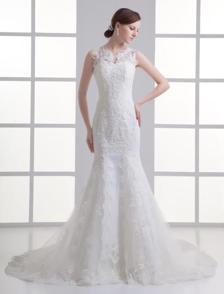 Milanoo Vestido de novia de color marfil de encajes de corte sirena