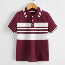 Camisa polo de dos colores ribete de rayas