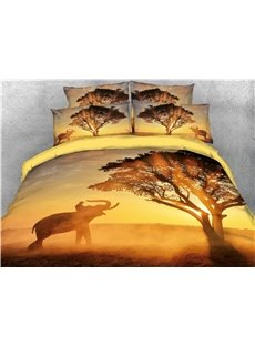 Tree and Elephant Sunset View Printed 4-Piece 3D Bedding Sets/Duvet Covers