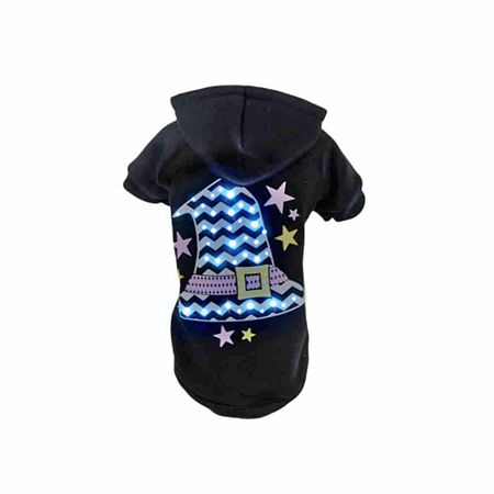 The Pet Life Pet Life LED Lighting Magical Hat Hooded Sweater Pet Costume, One Size , Black
