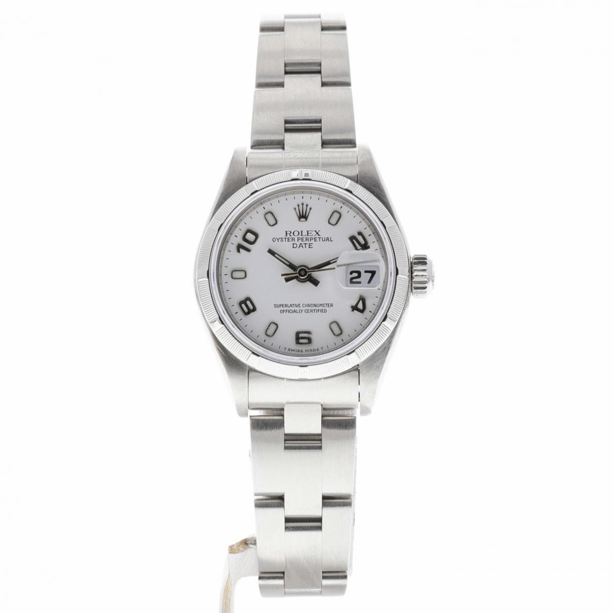 Rolex - Montre Lady Oyster Perpetual 26mm pour femme en acier - blanc