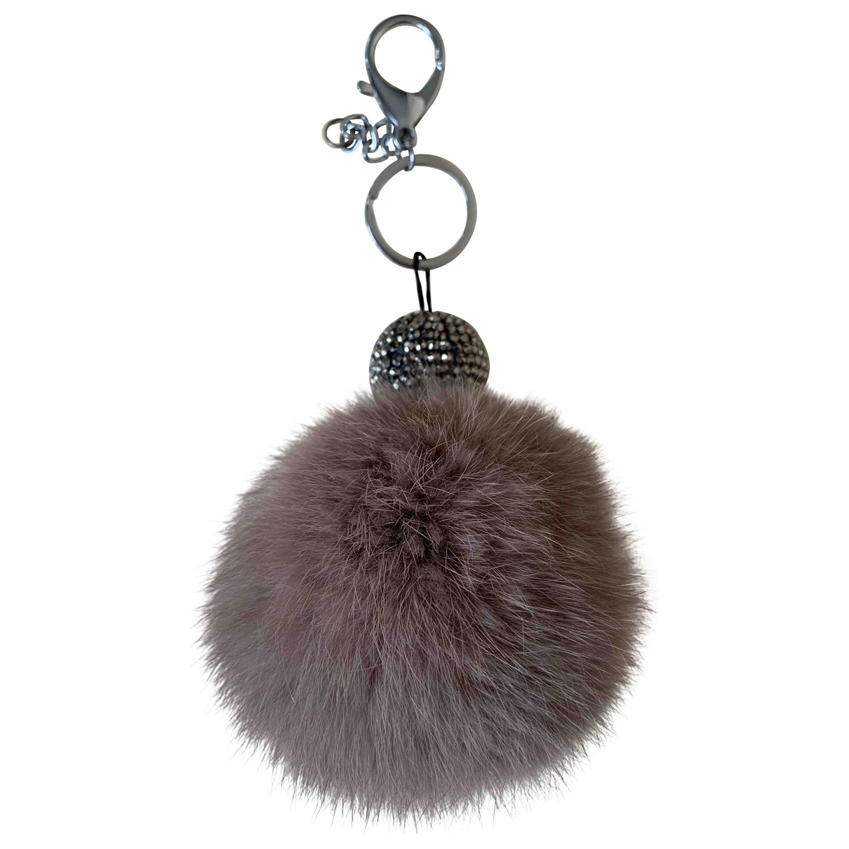 Non Signé / Unsigned \N Grey Mink Bag charms for Women \N