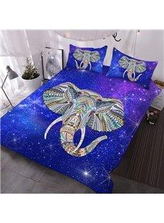 Elephant Galaxy 3D Warm Comforter 3-Piece Soft Breeze Comforter Sets with 2 Pillowcases