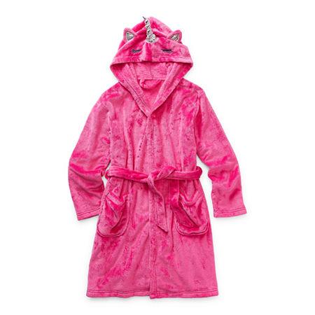 Arizona Little & Big Girls Fleece Long Sleeve Knee Length Robe, X-large (18.5) Plus , Pink