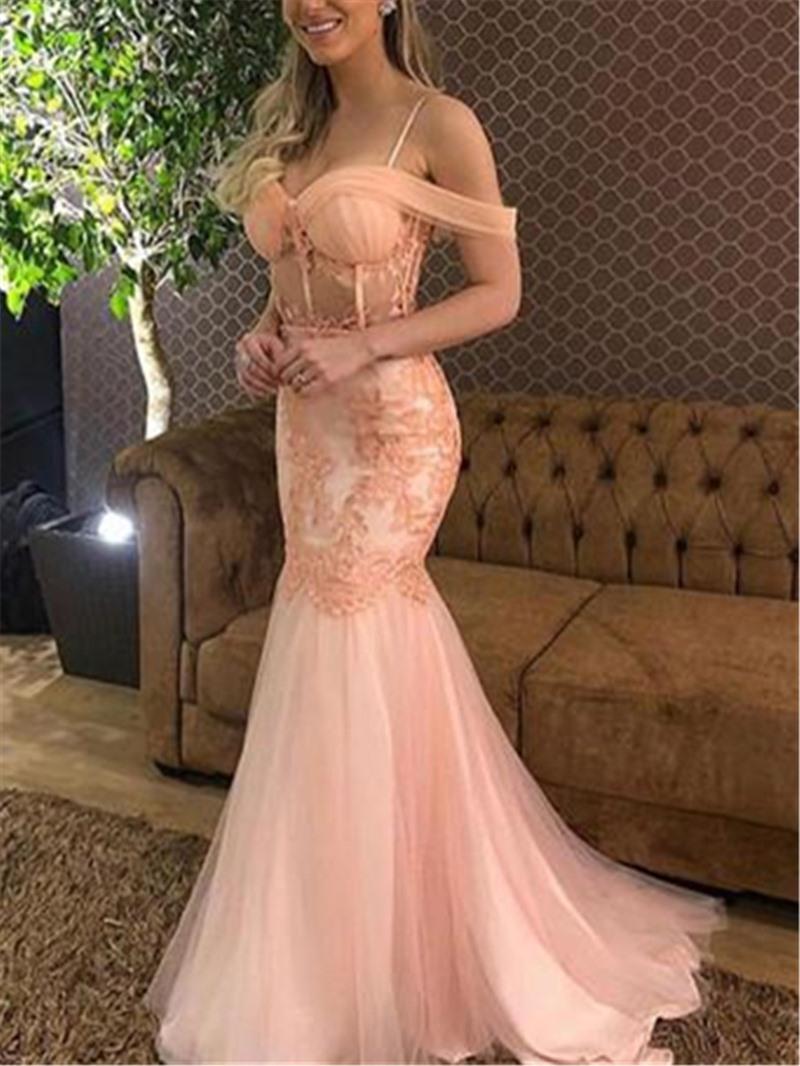 Ericdress Appliques Spaghetti Straps Mermaid Evening Dress