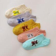 5pairs Cartoon Ankle Socks