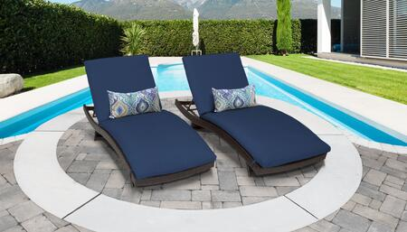 Belle Collection BELLE-CURVED-CHAISE-2x-NAVY Set of 2 Chaises - Wheat and Navy