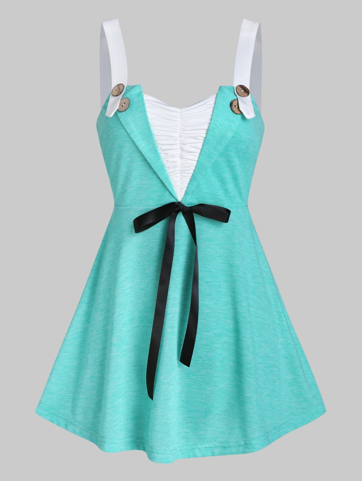 Button Bowknot Ruched Tank Top