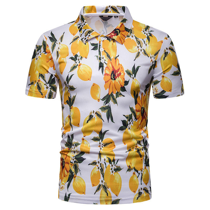 Mens Summer Beach Style Short Sleeve Printing Casual Shirts