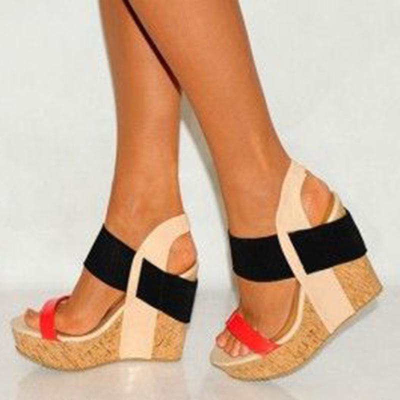 Ericdress Patchwork Wooden Heel Wedge Sandals