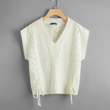 Lace Up Front Sleeveless Cable Knit Top