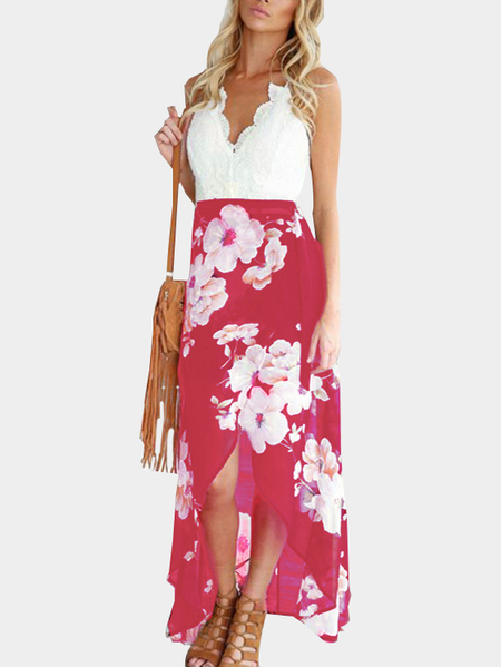 Yoins Rose Open Back Irregular Hem Floral Print Sleeveless Dress