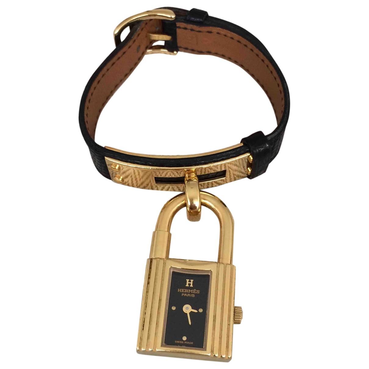 Hermès Kelly Black Gold plated watch for Women \N