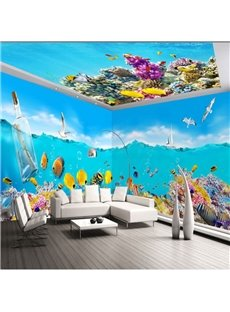 Green Sea and Colorful Coral with Drift Bottle Pattern 3D Waterproof Ceiling and Wall Murals