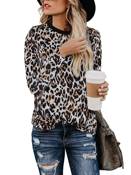 Yoins Leopard Camouflage Round Neck Long Sleeves Tee