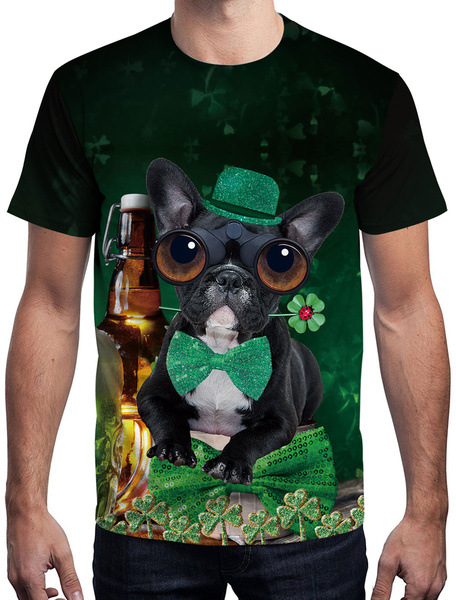 Milanoo St Patricks Day T Shirt Green 3D Printed Dog Clover Unisex Irish Short Sleeve Top Halloween