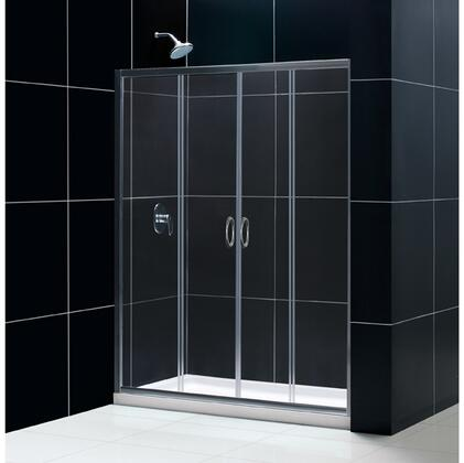 DL-6962C-04CL Visions 34 In. D X 60 In. W Sliding Shower Door In Brushed Nickel With Center Drain White Acrylic Shower Base