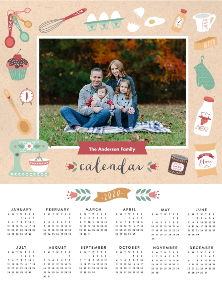 Calendar 11x14 Adhesive Poster, Home Décor -Seasonally Sweet