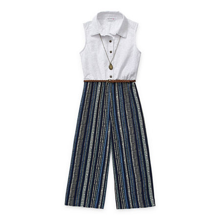 Knit Works Shirtwaist Little & Big Girls Sleeveless Belted Jumpsuit, Small , Blue