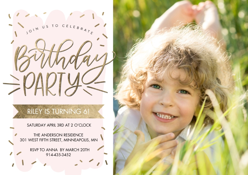 Kids Birthday Party Flat Matte Photo Paper Cards with Envelopes, 5x7, Card & Stationery -Birthday Party Gold Script by Tumbalina