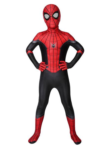 Milanoo Halloween Spider Man: Far From Home Cosplay Peter Parker Kid Lycra Spandex Cosplay Mono