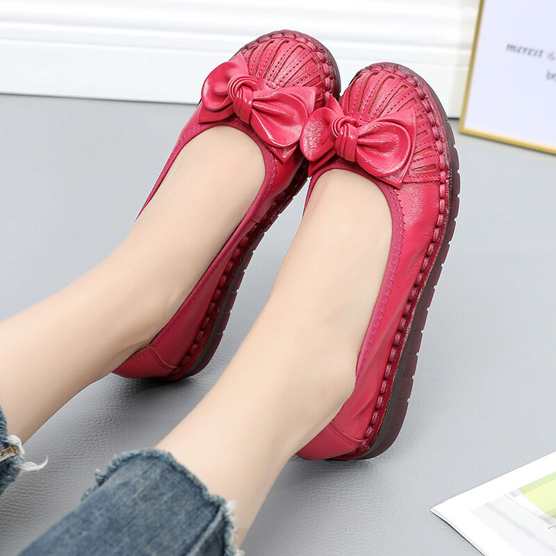 Women Bowknot Genuine Leather Soft Sole Bowknot Casual Flat Shoes
