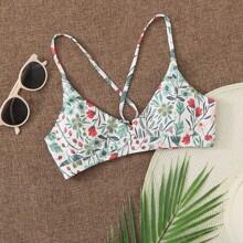 Bikini Top mit Blumen Muster und Band hinten
