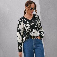 Drop Shoulder Graphic Oversize Sweater