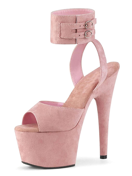 Milanoo Sexy Sandals For Woman Pink PU Leather Peep Toe Monk Strap Sexy Shoes