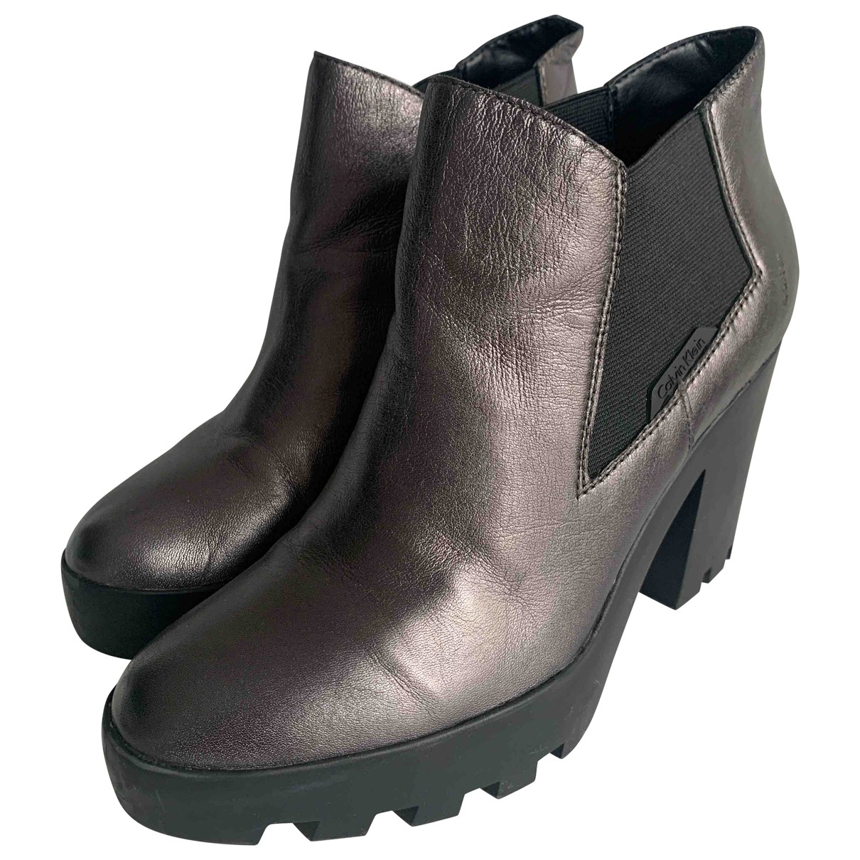 Calvin Klein - Boots   pour femme en cuir - metallise