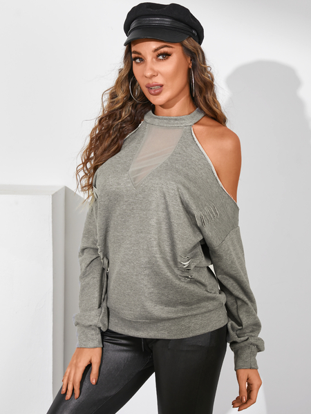 YOINS Ripped Semi Sheer Cold Shoulder Long Sleeves Tee