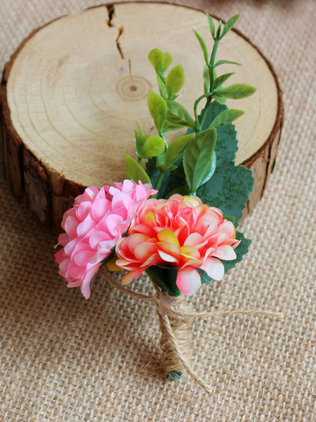 Milanoo Pink Prom Boutonniere Flower Wedding Accessories For Men