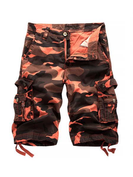 Milanoo Cotton Casual Shorts Camo Print Pocket Drawstring Men Cargo Shorts