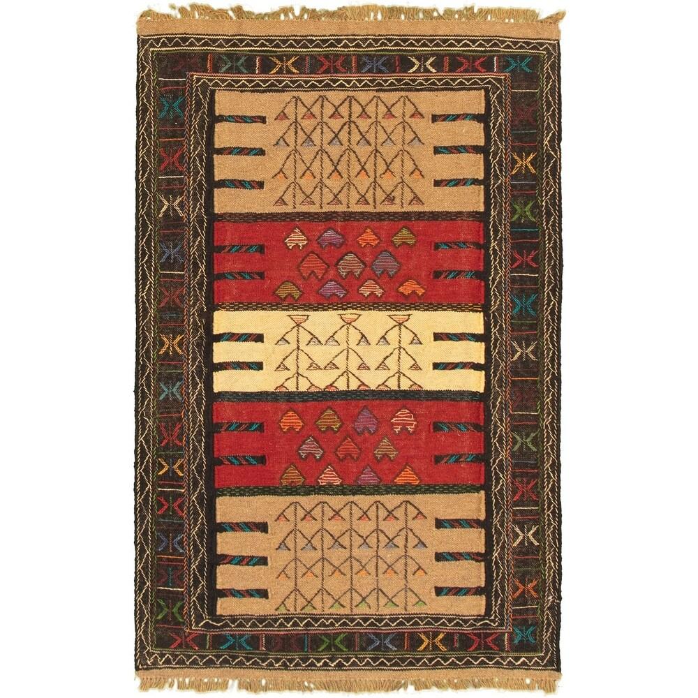 ECARPETGALLERY Flat-weave Ottoman Natura Khaki, Red Wool Kilim - 3'7 x 5'7 (Khaki/ Red - 3'7 x 5'7)