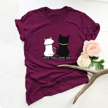 Cat And Slogan Graphic Tee