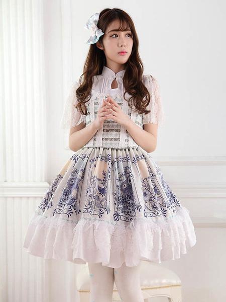 Milanoo Classic Lolita OP Dress Printed White Lace Lace Up Lolita One Piece Dresses