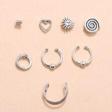 8pcs Heart Sun Decor Earrings