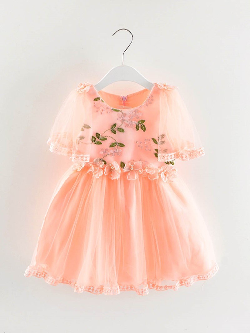 Ericdress Floral Print Embroidery Pleated Baby Girl's Princess Dress