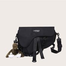 Chain Decor Saddle Bag With Bag Charm
