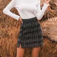 Faldas Particion A cuadros Elegante