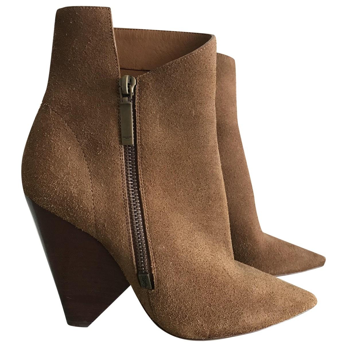 Saint Laurent - Boots   pour femme en suede - camel