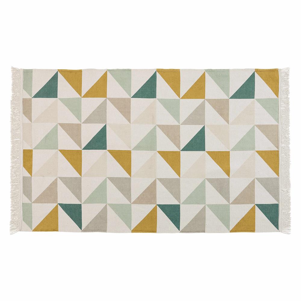 Baumwollteppich mit mehrfarbigen grafischen Mustern 120x180