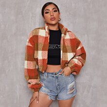 Zip Up Buffalo Plaid Teddy Jacket