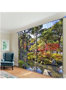 Gorgeous Courtyard View 3D Printed Polyester Curtain